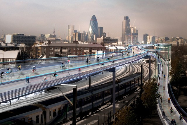Architects propose 136-mile cycling network above London