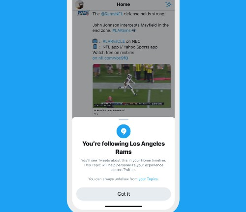 Twitter is rolling out Topics, a way to follow subjects automatically in the timeline