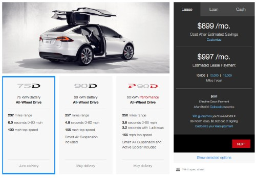 You can now customize your Tesla Model X online, smallest battery bumped to 75kWh