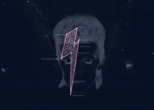 David Bowie gets his own constellation, a lightning bolt in the night sky