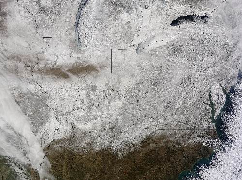 NASA satellite image shows the frozen wasteland that currently is the United States