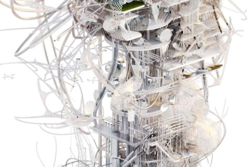 Spiderweb-like tower would harvest air pollution in London and turn it into biofuel