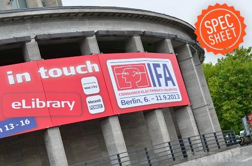 Spec Sheet: IFA 2013