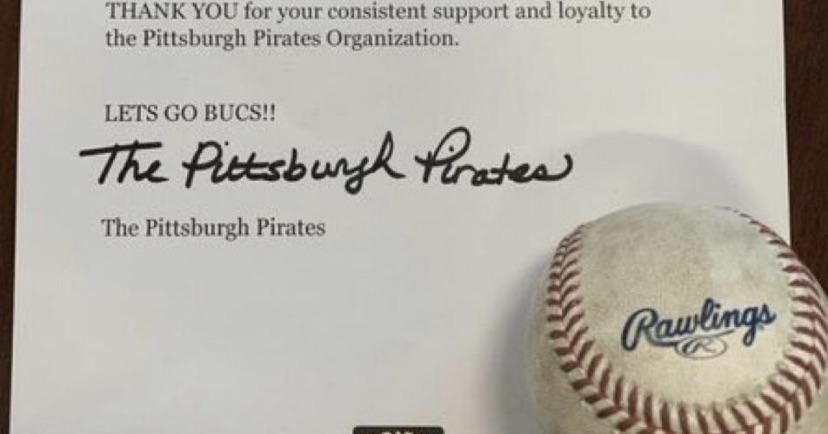 The Pirates gave a season ticket holder a foul ball that landed in their seat