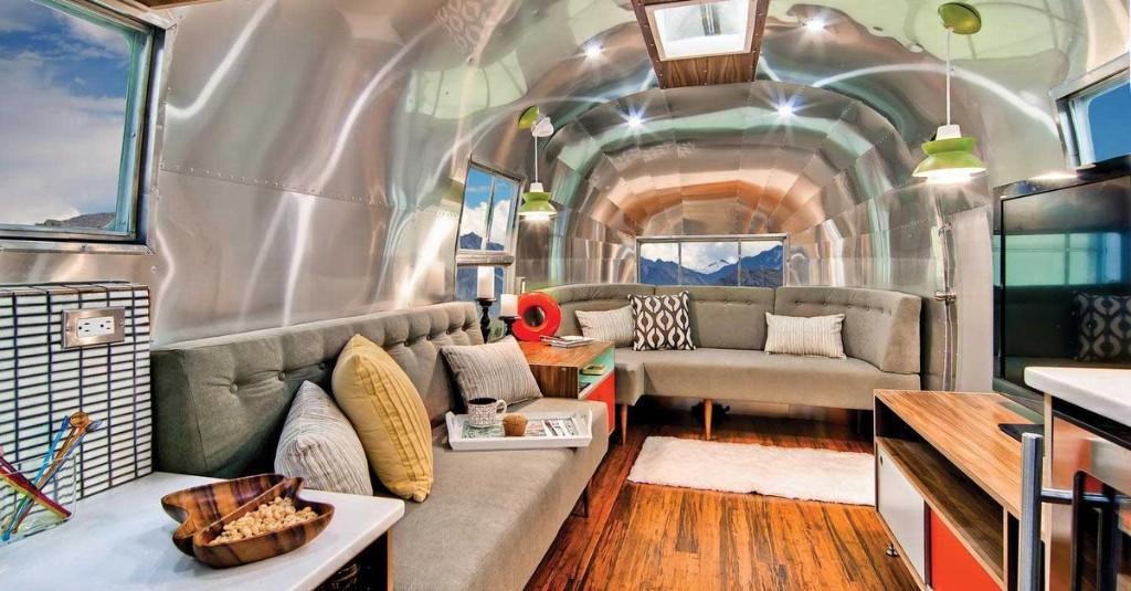Rare 40-foot Airstream renovated into midcentury modern dream