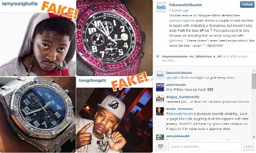 Instagram account busts rappers wearing fake designer watches