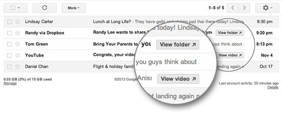 Gmail adds quick action buttons for YouTube, Dropbox, Seamless, and OpenTable
