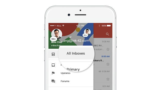 Gmail for iOS now lets you view all of your accounts in a single inbox