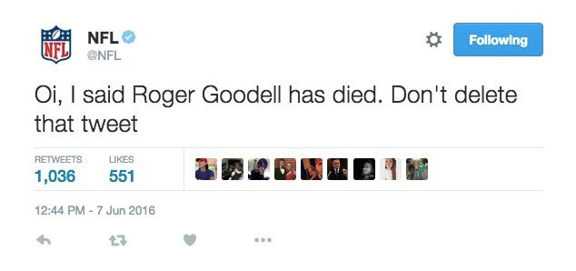 NFL's Twitter account hijacked with false reports of commissioner's death