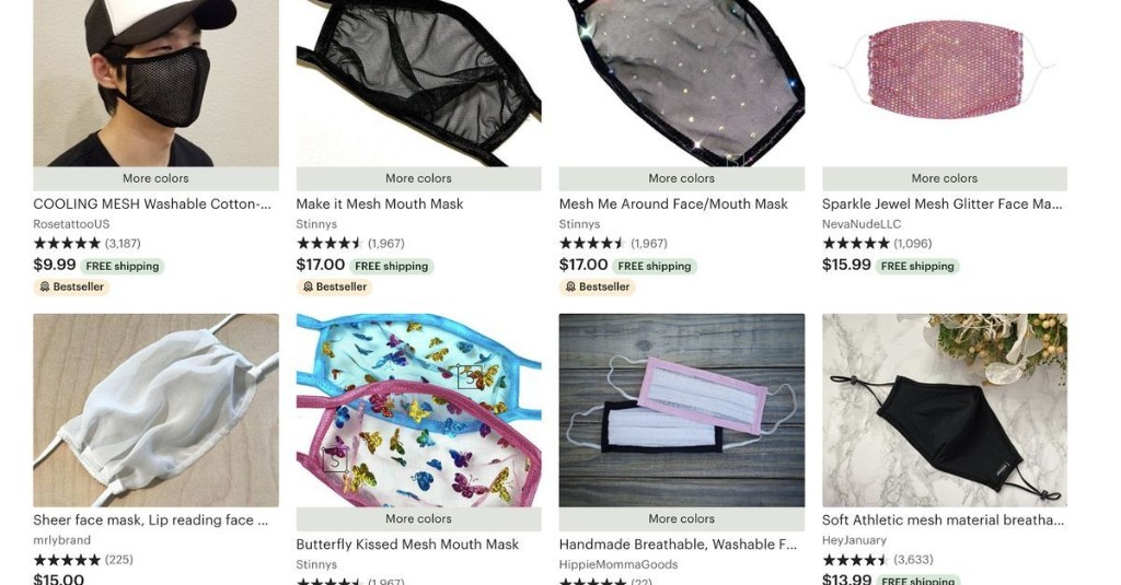 """Etsy sellers are offering sheer mesh face masks that provide """"very little protection"""""""