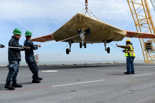 US Navy launches first drone from aboard an aircraft carrier