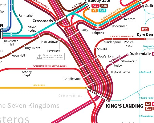 This is the world of 'Game of Thrones' as a subway map