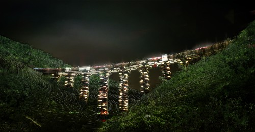 Ruined bridges of Italy reconceived as vertical cities of the future