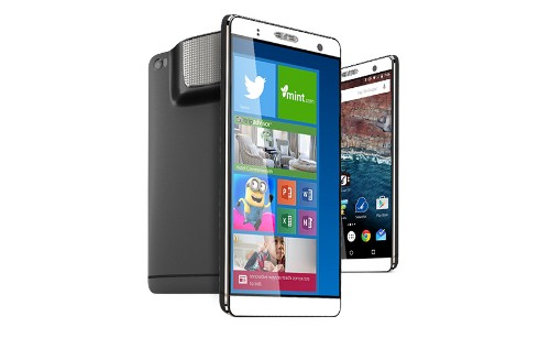 The Holofone Phablet is a 7-inch Android phone / Windows PC with a built-in projector