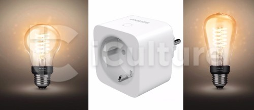 A Philips Hue smart plug and exposed filament bulbs appear to be coming