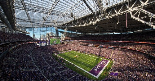 The Vikings opened up their stadium to enjoy a 43-degree day against the Packers