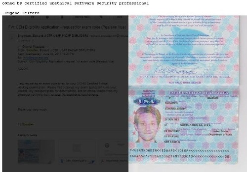 Ethical hacking organization hacked, website defaced with Edward Snowden's passport