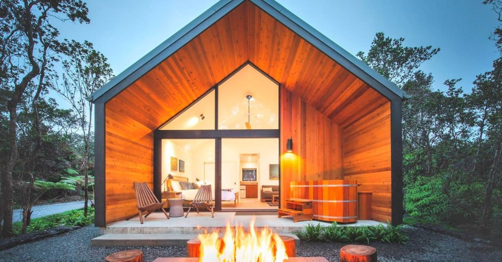 488-square-foot Hawaiian forest cabin comes with a fire pit
