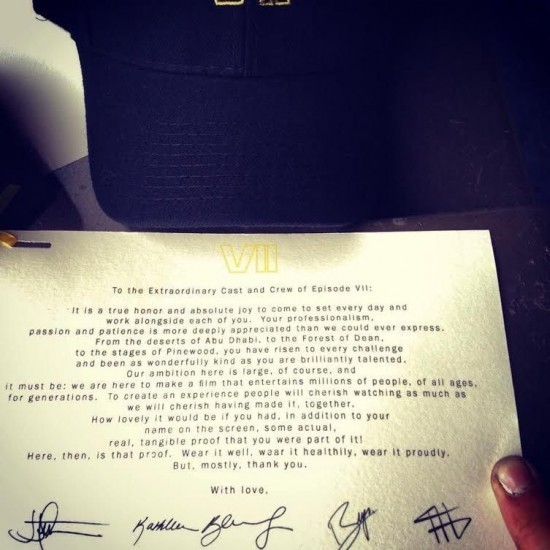 Read J.J. Abrams' farewell letter to the 'Star Wars: Episode VII' cast