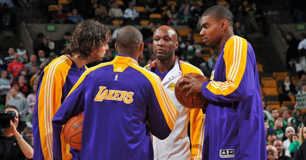 Pau Gasol still has a photo of him, Lamar Odom and Andrew Bynum hugging after Game 7 in 2010 in his house