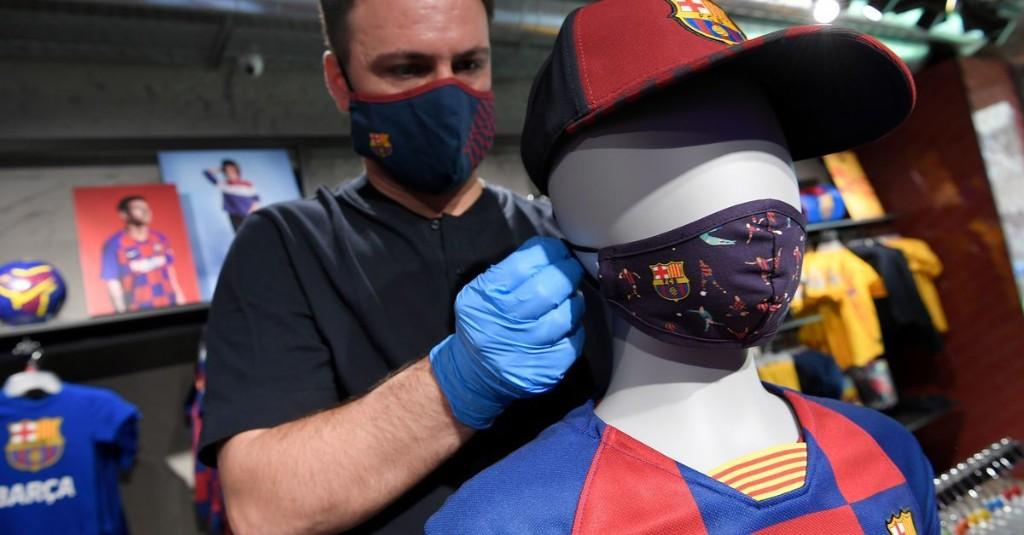 Barcelona face masks go on sale