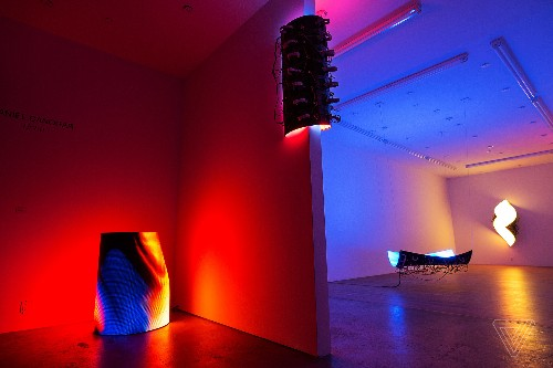 Artist Daniel Canogar visualizes real-time environmental shifts with LED sculptures