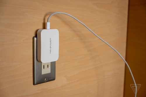 RavPower's tiny 45W gallium nitride charger almost sits flush with your wall