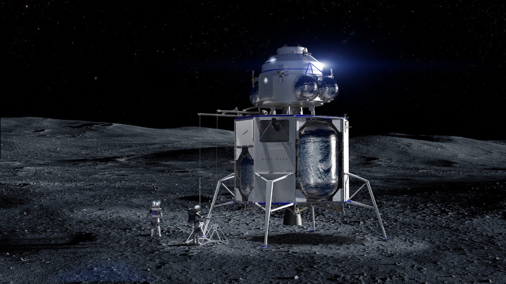 Jeff Bezos unveils mock-up of Blue Origin's lunar lander Blue Moon
