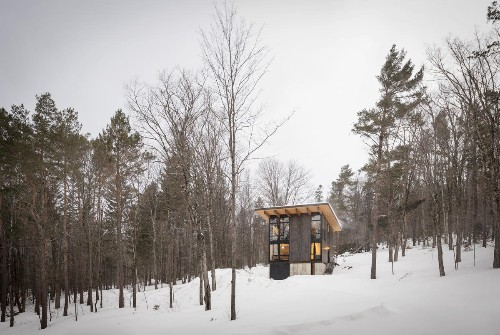 A perfectly simple cabin rises in the wilderness