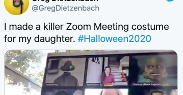 This dad's Zoom Halloween costume for his daughter is almost perfect