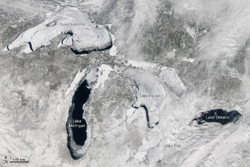NASA satellite image shows the Great Lakes are over 80 percent ice