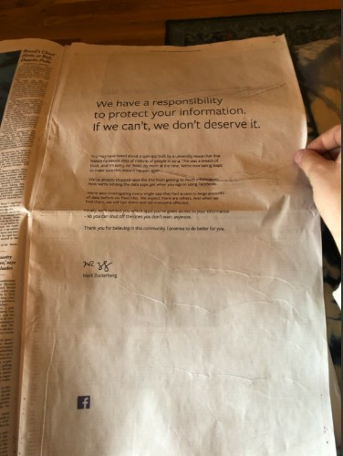 Mark Zuckerberg apologizes for Facebook's data privacy scandal in full-page newspaper ads