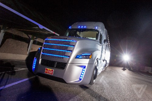 This is the first road-legal big rig that can drive itself