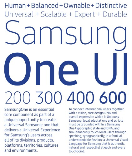 Samsung developed its own font called SamsungOne