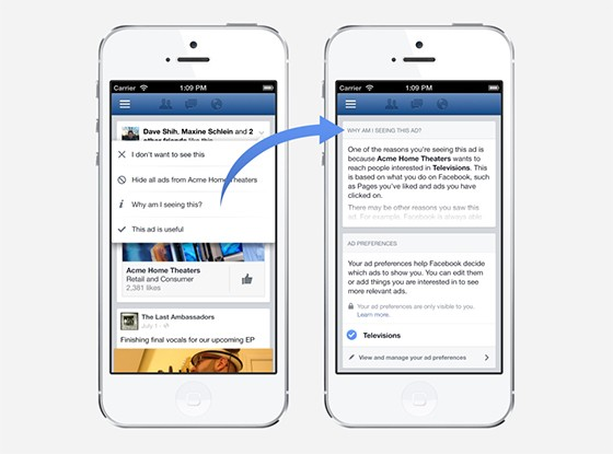 Facebook to show ads based on your browsing history, but let you change them