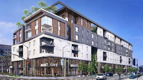 Seven-story apartment complex on the way to Downtown Long Beach