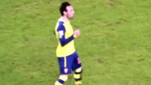 Cazorla celebrates goal with a little dance