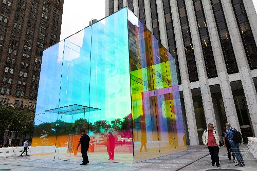 The dazzling iridescence of Apple's rainbow cube on Fifth Avenue
