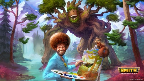 Bob Ross will be playable in Smite, complete with happy trees
