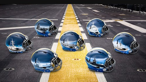 Navy's Army helmets have SHIPS FOR EACH POSITION