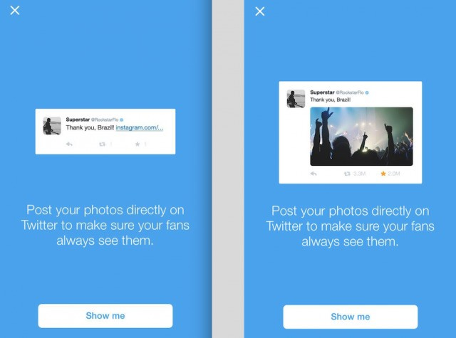 Twitter encourages popular users to stop posting photos with Instagram