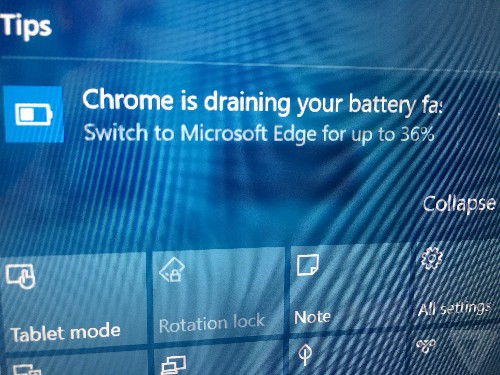 Microsoft's war against Chrome battery life now includes Windows 10 notifications