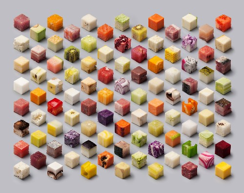 Cubes of fruits, vegetables, and meats will make you see food in a new light