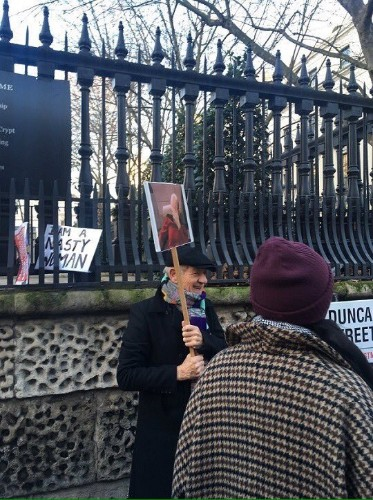 Ian McKellen brought an appropriate sign to the London Women's March