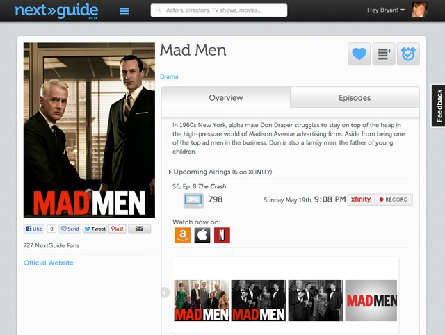 NextGuide Web replaces your DVR interface with your web browser