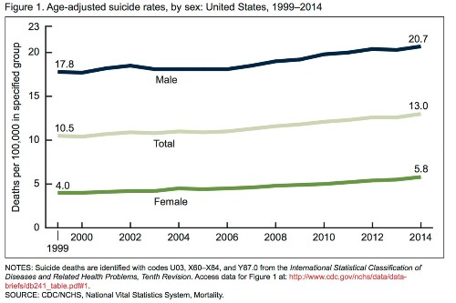 Suicide rates have gone up in the US since 1999, CDC study finds