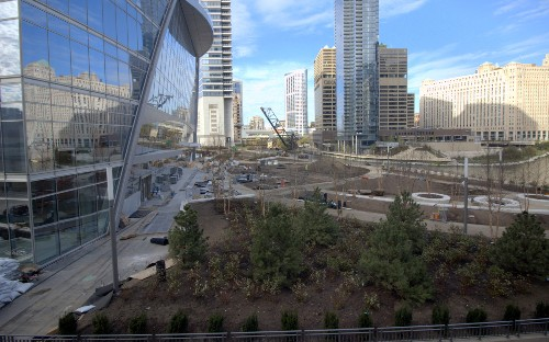 Trees starting to sprout at the plazas of future downtown office towers