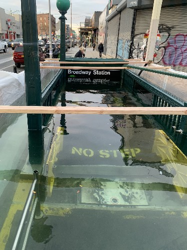 MTA floods NYC subway entrance because 'climate change is real'