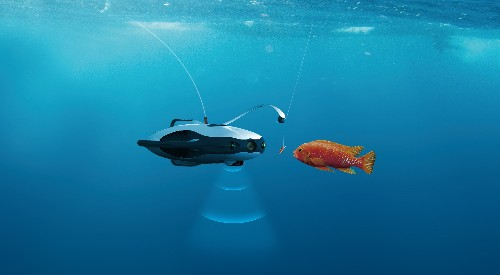 This submersible drone uses sonar and LED lures to hunt down fish for you