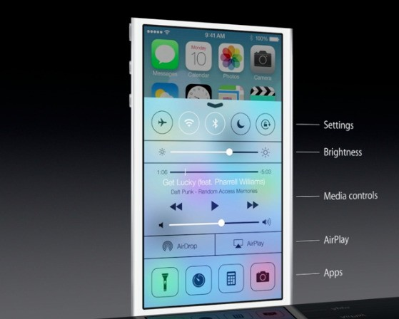 iOS 7 Control Center allows quick toggling of Wi-Fi, Bluetooth, AirDrop, and more